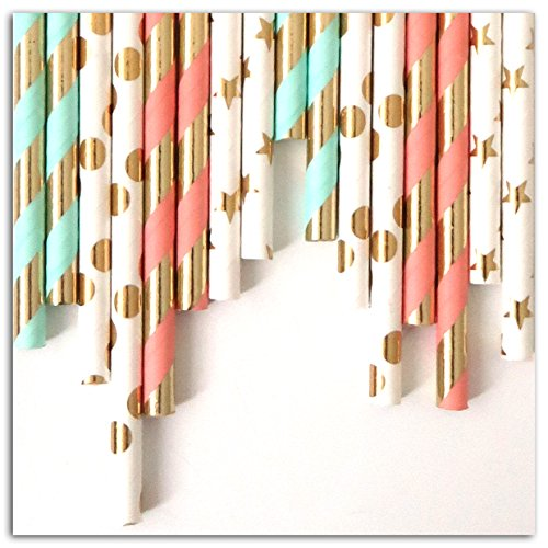 24 paper straws - Mint-pink-gold