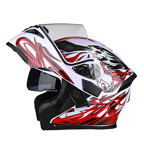 ZXLO Casco da Moto Bluetooth Casco da Corsa, Flip Up Modulare Integrato O Full Face Comunicazione con Doppio Visore A Doppia Faccia (Sistema FM Radio Bluetooth Integrato),Redandwhite,L