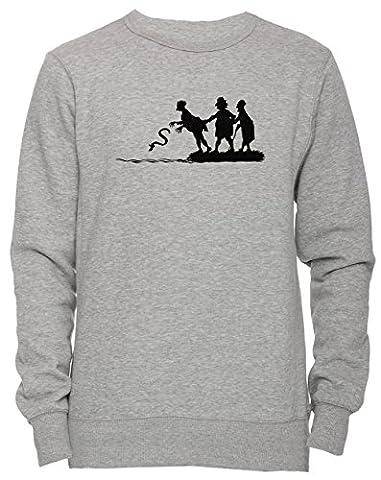 Wurf Schlange Unisex Herren Damen Jumper Sweatshirt Pullover Grau Größe