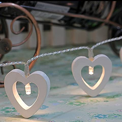 Gold butterfly@ Wooden Heart Warm White 10 LED Fairy String