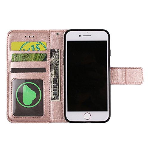 UKDANDANWEI iPhone 6 Plus / 6s Plus Handyhülle,Pu Leder Flip Wallet Schutzhülle Stand Case TPU Innen 2 Combo Separate Karteneinschub und Magnetverschluß Kratzfestes Hülle für iPhone 6 Plus / 6s Plus - Gold