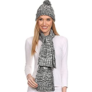 Ambiance Women's Heathered Knit Hat and Scarf 2-Piece Set, Grey