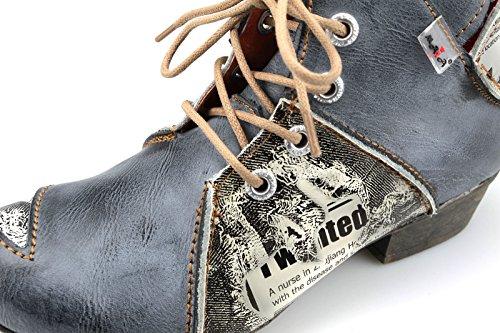 TMA Damen Stiefeletten Boots Stiefel Leder Damenschuhe 8818 Schwarz / Grau