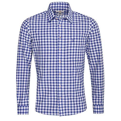 Almsach Herren Trachtenhemd Slim-Fit Slim-Line Trachten-Mode traditionell-kariert s-XXL viele Farben, Größe:XL, Farbe:Blau