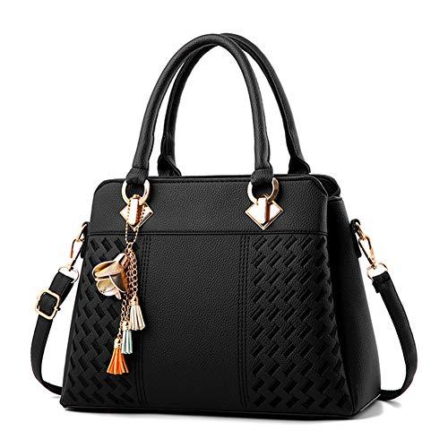 CRH Neue Damen Handtasche umhängetasche Frauen handtaschen weiblichen Beutel handtaschen für womencollege Freizeit Reise Reise,Schwarz - Schwarz Poliert Leder Handtasche