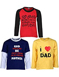 Goodway Pack of 3 Boys Full Sleeve Colour T-Shirts Mom & Dad Theme-3