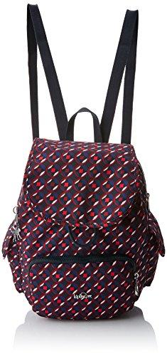 Kipling City Pack S, Mochila para Mujer, Multicolor (Red Tile Print), 15x24x45 cm (W x H x L)