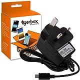 Tigerbox® Micro USB UK Mains Wall Charger For HMDX Jam Bluetooth Wireless Portable Speaker - Works with model HX-P230GRA-EU, HX-P230BLA-EU, HX-P230GYA-EU, HX-P230PUA-EU and HX-P230RDA-EU - NO PC REQUIRED
