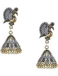 Shining Jewel German Silver Two Tone Oxidized Brass Peacock Jhumka Earrings (SJ_993)