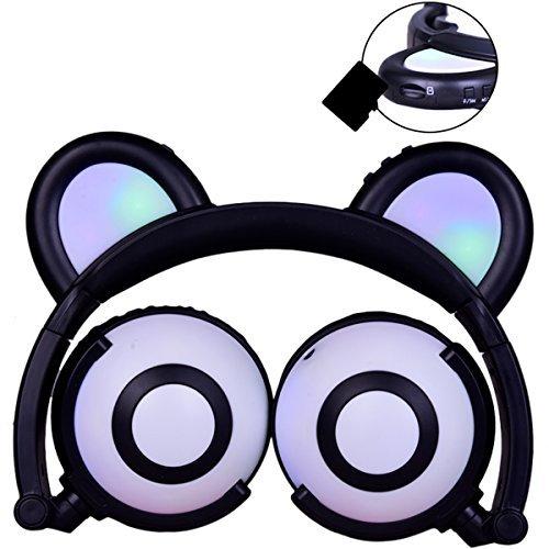 LIMSON Over-ear per Bambini Bear Ear Headset Wireless Pieghevole LED Incandescente Auricolari, Microfono Integrato, Supporto SD Card LX-C109 (Nero)