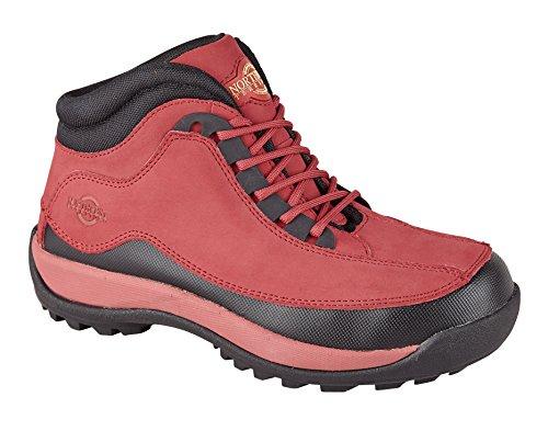 Rote Sohle Spitze (Damen Work stiefel, meine Damen Stahlkappen, Spitze bis mit Robuste Sohle, Rot - rot - Größe: 24 EU)