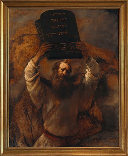 Berkin Arts Rahmen Rembrandt Harmenszoon Van Rijn Giclée Leinwand Prints Gemälde Poster Reproduktion(Moses mit den Zehn Geboten)