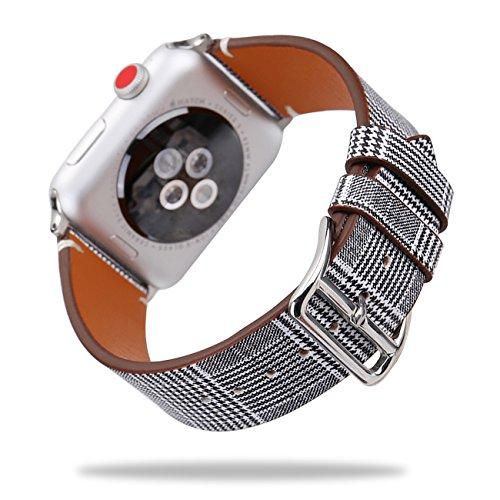 Für Apple Watch Armband 38mm 42mm, Watch Lederarmband Band Strap Armbänder Uhrenarmbänder Leder, für Damen & Herren, für iWatch Apple Watch Series 3, Series 2, Series 1, Sport, Nike+, Edition, Hermes (Hahnentritt Schwarz, 38mm)