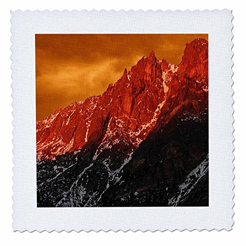 3dRose qs_26278_1 Flattop Mountain Orange Sky in The Rockies Steppdecke, quadratisch, 25,4 x 25,4 cm Rocky Mountain Quilt