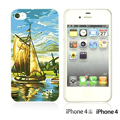 OBiDi - Art Paintings Hardback Case / Housse pour Apple iPhone 4S / Apple iPhone 4 - Vintage European Painting Holland Windmills