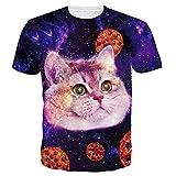 Leapparel Unisex 3D Lustige Pizza-Katze-Druck-Hippie-Galaxie-T-Shirts Kleid L