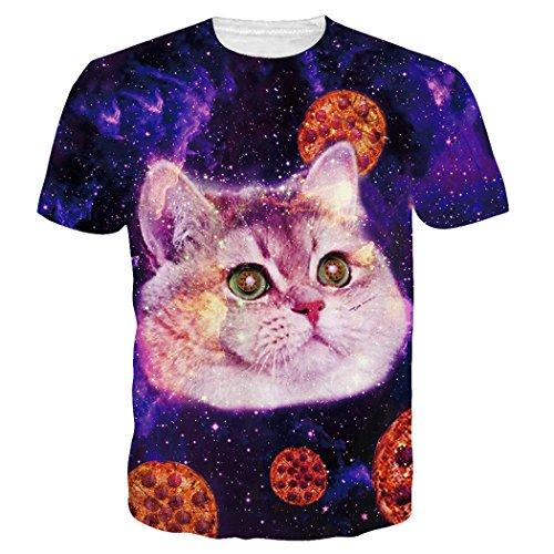 Leapparel Unisex 3D Lustige Pizza-Katze-Druck-Hippie-Galaxie-T-Shirts Kleid (Kleid Taco)