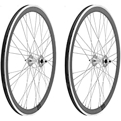 2x Llanta Rueda para Bicicleta Fixed Fixied de 700 Aluminio CNC MECANIZADO con Rodamientos Color PLATA 3750