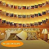 LED Foto Clips Lichterketten 30 Clips 3 Meter Batteriebetrieben LED Fotolichterkette Warmweiß Stimmungsbeleuchtung Led fotoclips Lichterkette für Hängende Bilder Kunstwerke Memos Zimmer