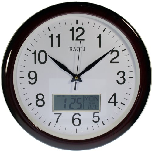 Reloj de pared analógico-digital Color madera Calendario y temperatura. Movimiento continuo, no hace TIC-TAC
