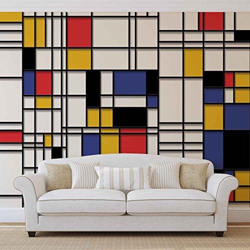 MONDRIAN Art Moderne Papier peint photo Décoration Murale Papier Peint Photo Image Papier peint (3039ws), Intissé (EasyInstall), XXXL - 416cm x 254cm