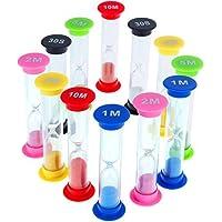 Faburo 12 Stück Zähneputzen Sanduhren Klein für Kinder,6 Farben,30 Sek,1 min, 2min, 3 min, 5 min, 10 min,Sanduhr Spiel