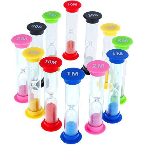 Faburo 12 Stück Zähneputzen Sanduhren Klein für Kinder,6 Farben,30 Sek,1 Min, 2min, 3 Min, 5 Min,...