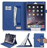 FYY Coque iPad Air 2/iPad Air/iPad 9.7 2018/2017, Étui en Cuir PU avec Sangle Élastique Support de Stylet pour iPad Air 2/iPad Air/iPad 9.7 2018/2017 Bleu Foncé (Fonction Veille/Réveil Automatique)