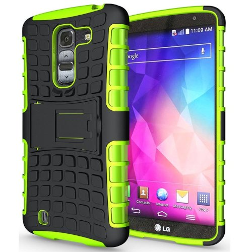 Heartly Flip Kick Stand Hard Dual Armor Hybrid Bumper Back Case Cover For LG G Pro 2 - Green  available at amazon for Rs.399