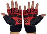 Pro Grip Gewichtheben Handschuhe von jasons Gear mit Wasser beständig Cow Hide Anilinleder, 45cm lang Atmungsaktiv Handgelenkbandage Gurt, Anti-Reibung Gel Palm Grip. Geeignet für Workout Training Fitness Crossfit-Powerlifting, rot
