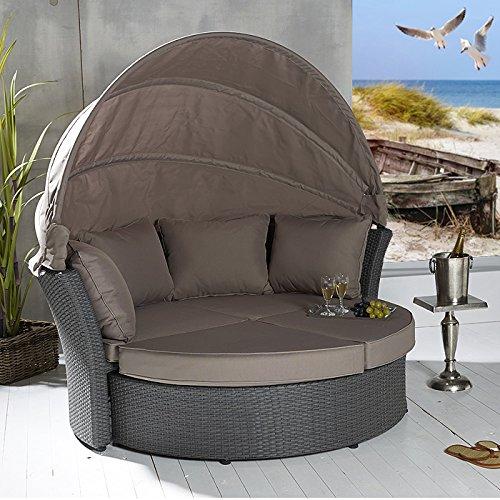 Poly Rattan Sonneninsel Terrassen Strandkorb Garten Lounge Liege