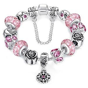 Braccialetto personalizzabile con perle in vetro di murano rosa, con ciondolo e catenina di sicurezza, 20 cm