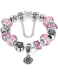 Braccialetto Pandora compatibile con perle in vetro di murano, rosa carino ciondolo e catenina di sicurezza,20cm