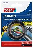 Tesa 56163-00000-00 Isoler Electricité / 6000 Volts PVC Souple Isolant 10 m x 15 mm Noir