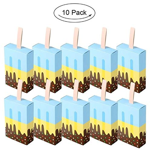 SMHILY 10 Stücke EIS Süßigkeiten Geschenkboxen Papier Cookie Box Taschen Geschenke Für Gast Kinder Baby Shower Hawaii Birthday Party Dekoration