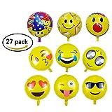 caramella bubble 27 Pack Emoji Balloons   18'' Smiley Face Mylar Balloons   Reusable Emoticon Party Supplies for Happy Birthday,Wedding