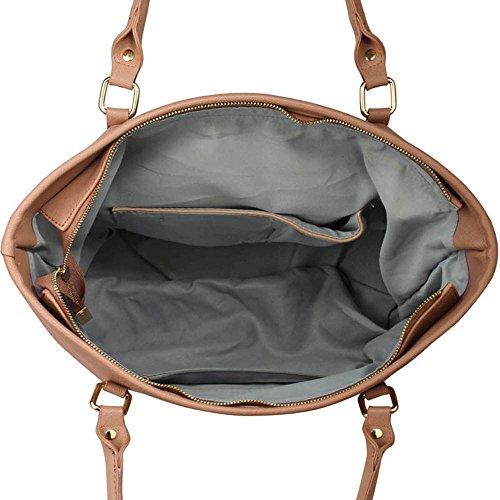 TrendStar Handtasche der Frauen faux Leder Damen Dekorative Bow Tie-Schulter-Beutel Nude