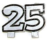 Geburtstagskerze Jubiläumkerze Zahl 25 Glitterkerze für 25.Geburtstag Silberhochzeit oder Jubiläum Kerze für Torte Tortenkerze Dekoration für Geburtstag Jubiläum Party oder andere Anlässe