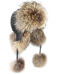 OBC Donna PROCIONE berretto bomber aviatore cappello di pelliccia pelliccia  di Inverno Cappello aviatore Cap Cappello adbcd431949f
