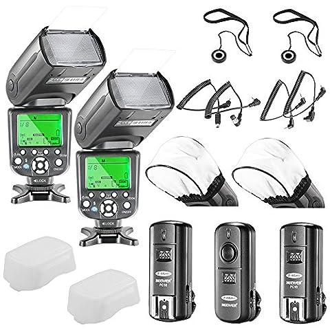 Neewer® 5500K 2.4G Wireless Pro Speedlite NW TT660 II *Deluxe Kit* for Canon Rebel T5i, T4i, T3i, T3, T2i, T1i, XSi, XTi, SL1, EOS 700D, 650D, 600D, 1100D, 550D, 500D, 450D, 400D, 100D, 300D, 60D, 70D, Nikon D7200 D7100, D7000, D5300, D5200, D5100, D5000, D3200, D3100, D3300 And All Other Digital SLR Cameras - Includes: (2) Neewer TT660 II Speedlite Flashlight + (1)2.4GHz Wireless Trigger (1 Transmitter, 2 Receivers) + (4)Cables(C1/ C3/ N1/ N3) + (2)Soft Flash Diffuser + (2)Lens Cap Holder
