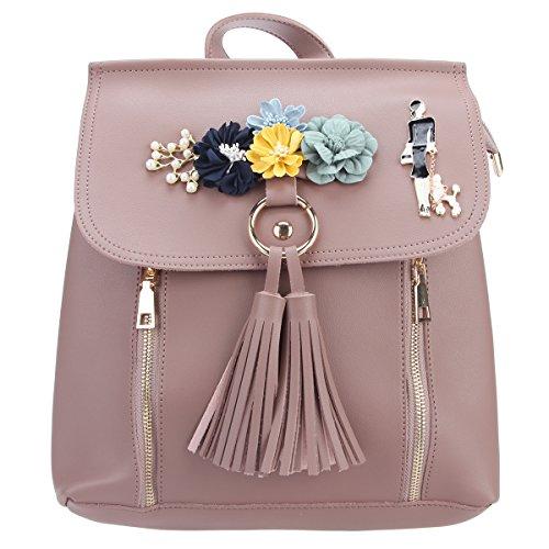 Fawziya Damen Rucksack mit Blumen und Quasten, Reißverschluss -