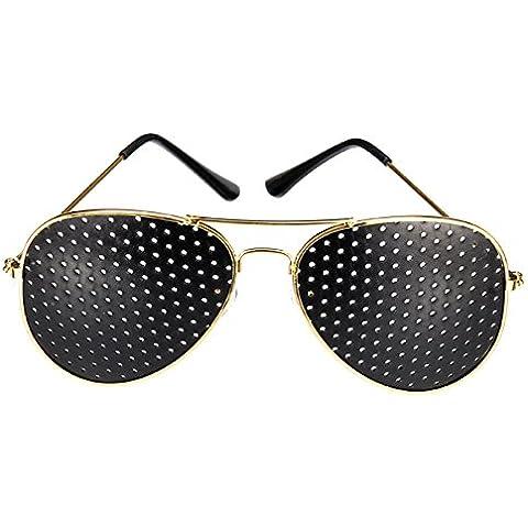 sansido Pin agujero gafas visión gafas anti fatiga gafas vista mejorar ojos formación, dorado
