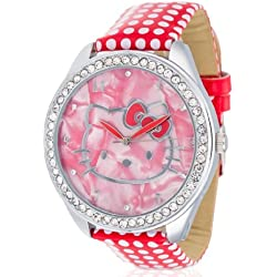 Hello Kitty Girls Watch Yae Red PU Leather Analog Quartz HK480S - 868