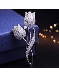 TT Delicada micro-incrustaciones de zirconita tulipán broche corsage pin hebilla accesorios regalos de San Valentín,Plata,6.1cm