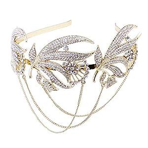 ArtiDeco 1920s Stirnband Flapper Haarband Stirn Kette Great Gatsby Halloween Motto Party Accessoires 1920s Flapper Charleston Zubehör