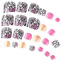 24 unidades romántica Floral Short Artificial falsa dedos clavos Color Rosa Toe Nails Decor con adhesivo