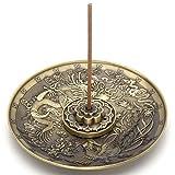 JOVIVI Räucherstäbchenhalter aus Messing – Lotusstab Räucherstäbchen und Drachen und Phoenix Kegel Räucherstäbchenhalter Rückfluss mit Aschefang Bronze
