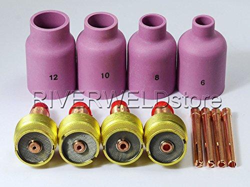 Grand diamètre Buse en aluminium Gas Lens Collet Corps Pour WP 17 18 26 Tig pièces de soudage 12pcs