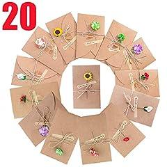 Idea Regalo - SLOSH 20 Biglietto Di Auguri Cartolina Buste Retrò Busta Carta Kraft Invito Vuote Cartoncini Augurali Di Matrimonio Compleanno Lettera Natale