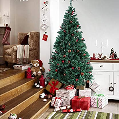 Homfa-180cm-Knstlicher-Weihnachtsbaum-Tannenbaum-Christbaum-Weihnachten-Dekoration-mit-Tannenzapfen-Christbaumschmuck-Grn